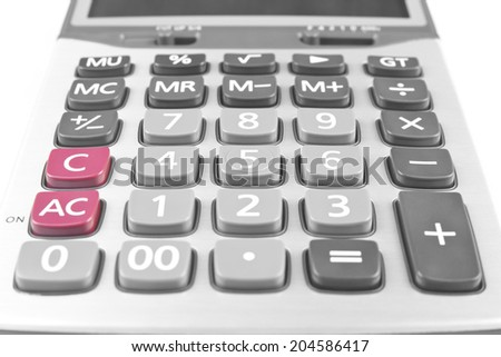 close up calculator on white background, isolated