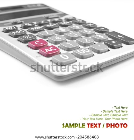 close up calculator on white for your text or idea - stock photo