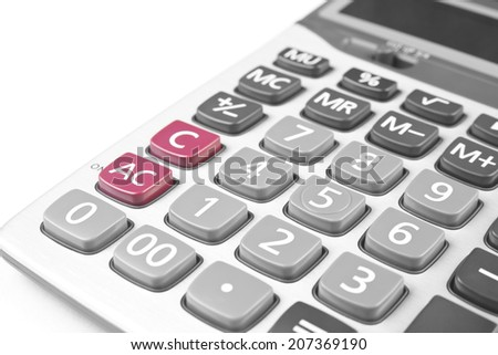 close up calculator on white for your works - stock photo