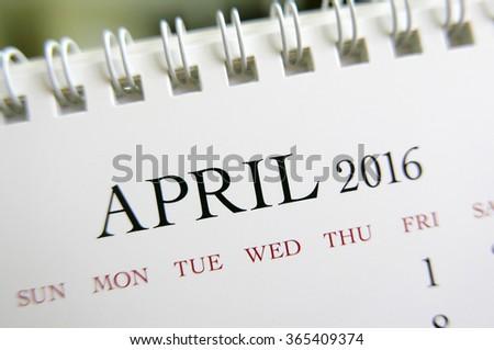 Close up calendar of April 2016 - stock photo