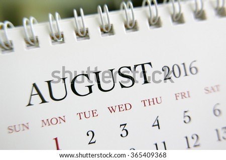 Close up calendar of August 2016 - stock photo