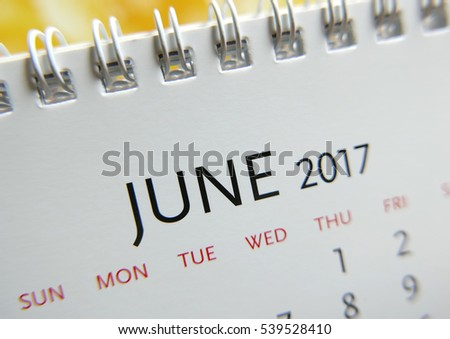 Close up calendar of June 2017