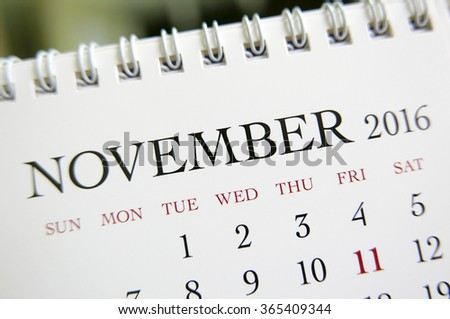 Close up calendar of November 2016 - stock photo