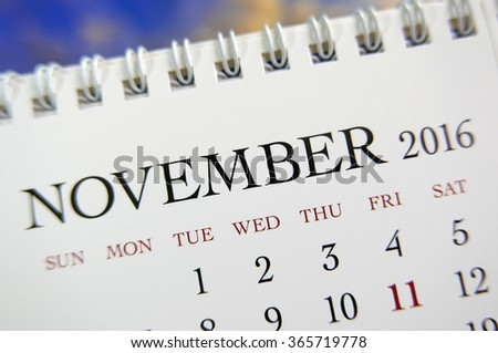 Close up calendar of November 2016 - stock photo