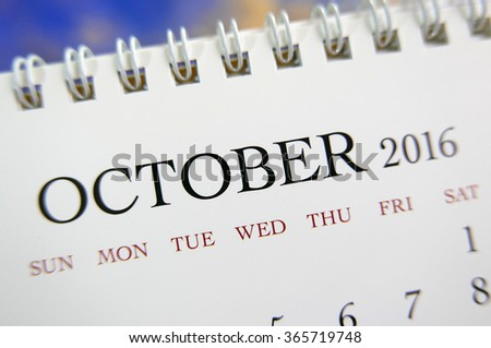 Close up calendar of October 2016 - stock photo