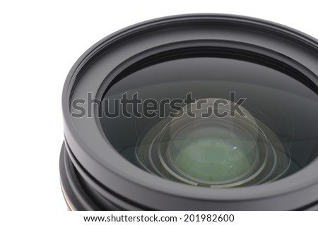 Close up Camera lens front sight. isolated on white background - stock photo