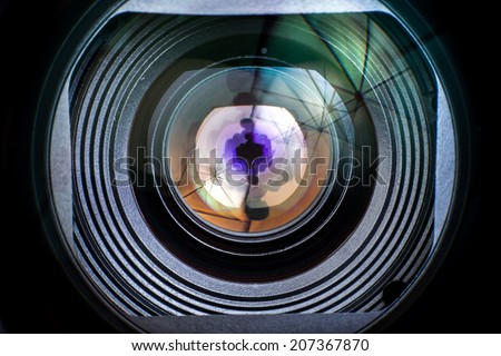 Close up Camera Lens only isolated on black background - stock photo