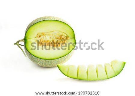 Close up cantaloupe melon isolated on a white background - stock photo