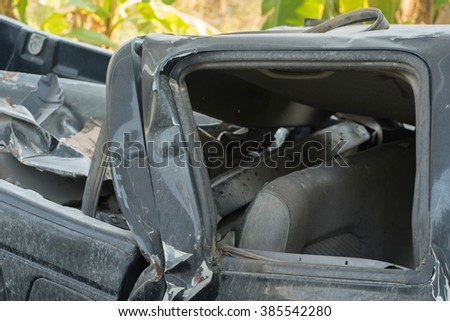 Close up Car engine part which accident