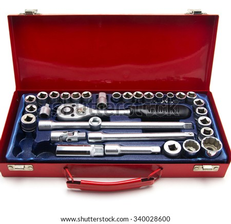 close up car engine with tools - stock photo