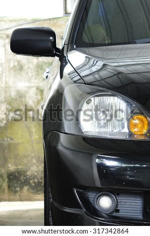 close up car headlight - stock photo