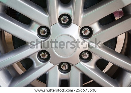 Close up car's wheel, gray color. - stock photo