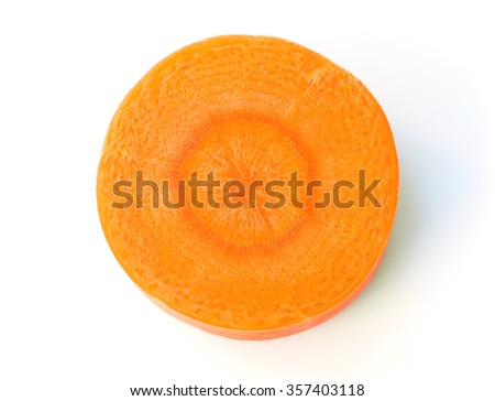 close-up Carrot slice isolated on white - stock photo