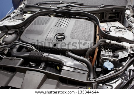 Close up cars engine open datails - stock photo