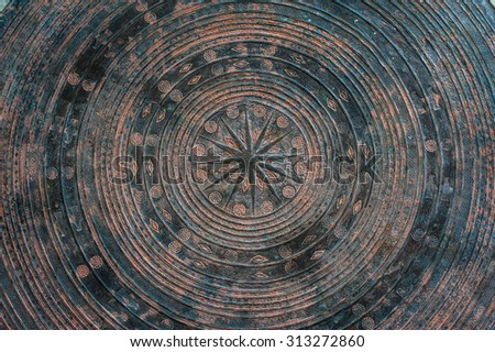 Close up - Carving stone texture, Round carve stone for surface Table - stock photo
