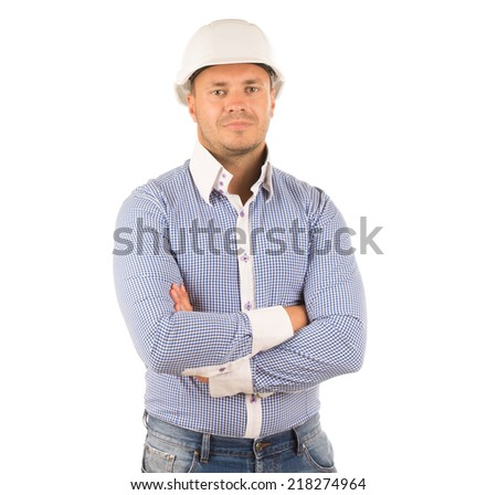 Close up Caucasian Engineer in Checkered Long Sleeves Polo Crossing Arms While Looking at Camera. Isolated on White Background. - stock photo