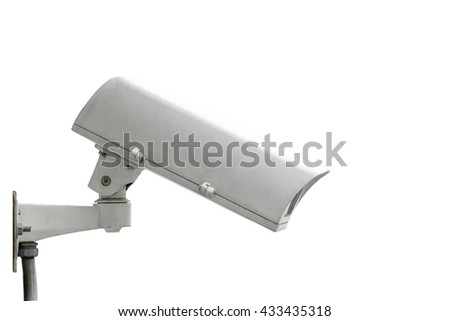 Close up CCTV security camera isolated on white background