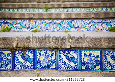 close-up ceramic tiles on the steps named Santa Maria del Monte at Caltagirone, Sicily - stock photo