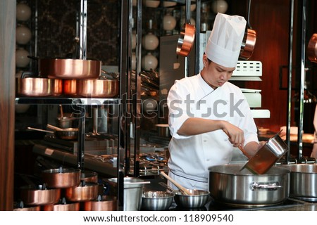 Close up chef cook delicious food, Thailand - stock photo