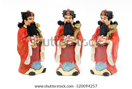 close up Chinese god hok-lok-su plaster figure doll for decoration on white isolate and path