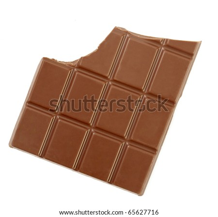 close up chocolate bar on white background