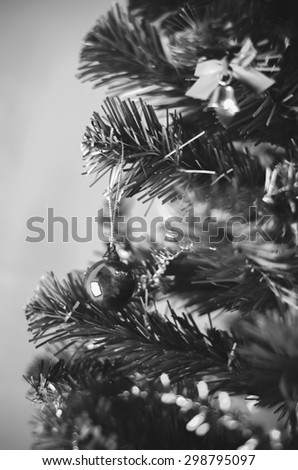 close up christmas ball on tree black and white color tone style