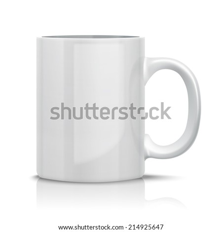 Close up Classic White Cup for Business Branding and Corporate Identity. Isolated on White.
