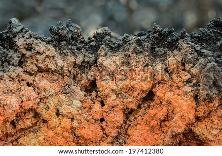 close up clay after effects of a fire - stock photo