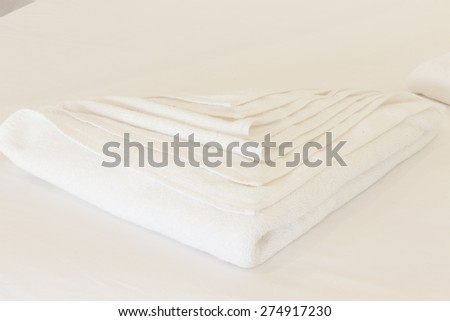 Close Up clean white towel on white background