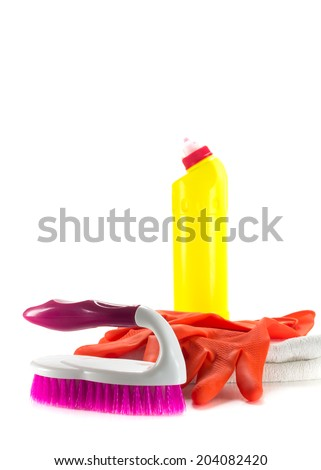 close up cleaning products isolated over white - stock photo
