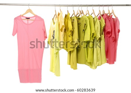 Close up clothes hanger with t-shirt