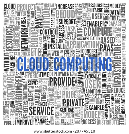 Close up CLOUD COMPUTING Text at the Center of Word Tag Cloud on White Background.