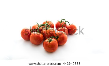 Close-up cluster of ripe red tomatoes with water drops on the vine isolated on white. Bucnh of fresh red tomatoes with clipping part and copyspace. Market fresh natural diet food.