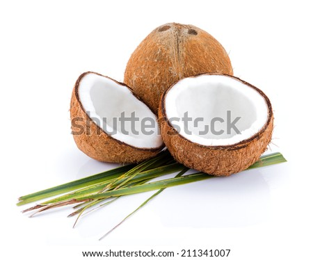 Close Up Coconut with leaves isolate on white