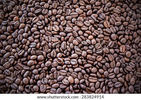 Close up coffee beans background and texture - stock photo