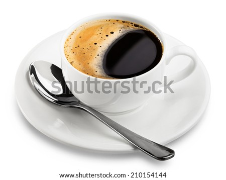 close up coffee cup on white background. Clipping Path