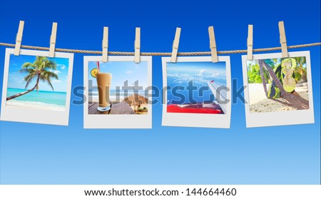 Close up collage from travel summer pictures on the line - stock photo