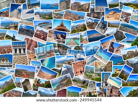 Close-up collage with  travel images: France, Spain, Mexico, Greece, Maldives, Thailand, Jordan, India - stock photo