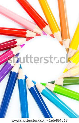 close up color pencils on a white background - stock photo