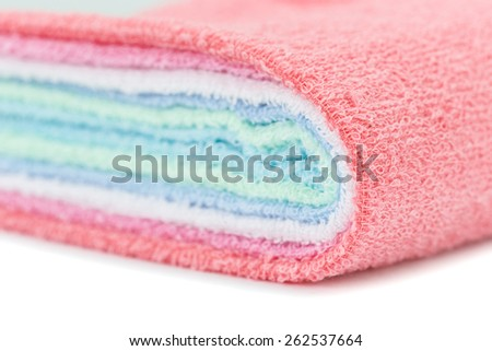 Close up color towel isolated on white background