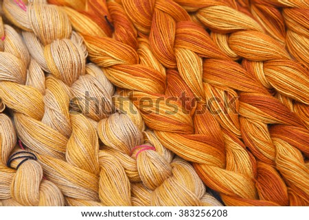 Close up color Yarn for Weaving as a background