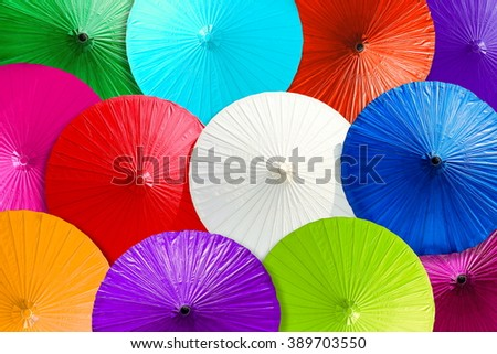 Close up colorful abstract of umbrellas background. - stock photo