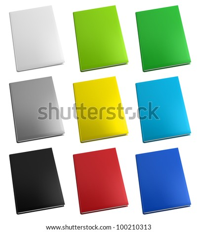Close up colorful books on white background, Front view