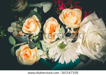 Close up colorful bunch of beautiful flowers.Vintage or retro tone