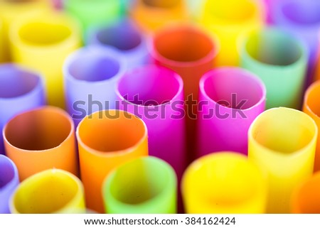 Close up Colorful drinking straws.