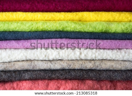 Close up , Colorful felt stack background - stock photo