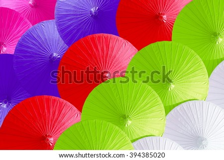 Close up colorful of umbrellas. - stock photo