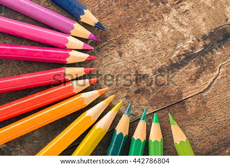 close up colorful pencils and  concept idea Circle - stock photo