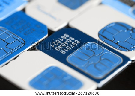 Close up colorful sim card - stock photo