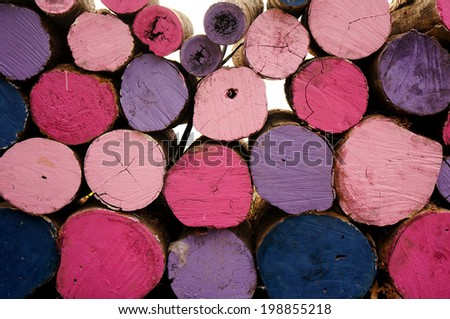 Close up colorful stack chopped wood - stock photo